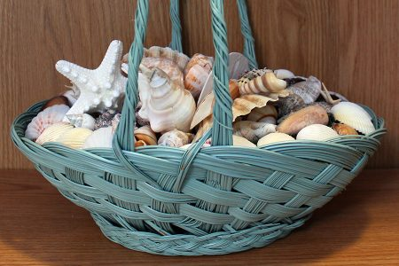 Beach Decor: Wedding Centerpiece, Beach Wedding Centerpiece, Shell Basket, Shell Centerpiece, Beach Centerpiece, Wicker Seashell Basket