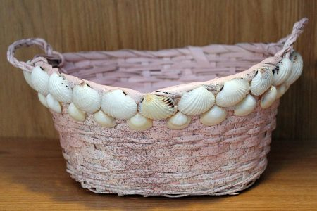 Beach Decor: Decorative Wicker Basket, Beach Wicker Basket, Beach Wedding Wicker Basket, Beach Decor Wicker Basket, Shell Basket