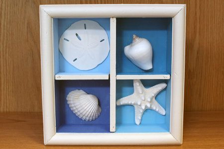 Beach Decor: Sea Shell Wall Hanging, Beach Shadow Box, Seashell Shadow Box, Starfish Wall Hanging, Sand Dollar Wall Art