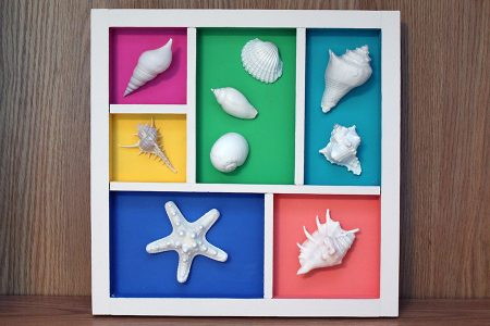 Beach Decor: Sea Shell Wall Hanging, Sea Shell Display, Sea Shell Wall Art, Sea Shell Collage